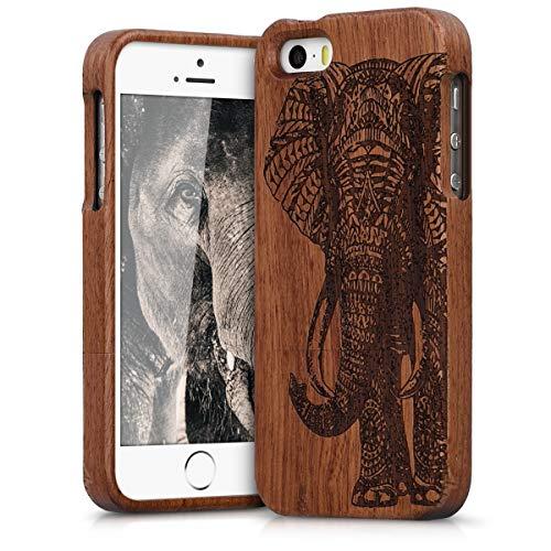 kwmobile Cover Legno Compatibile con Apple iPhone SE (1.Gen 2016) / 5 / 5S - Custodia in Legno di sapelli Naturale - Case Rigida Backcover Protettiva - India Marrone Scuro