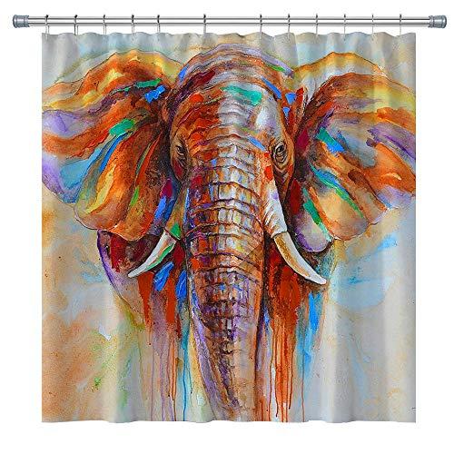 Elephant Shower Curtain,Watercolor Elephant Shower Curtain,71X71 inches, with Shower Curtain Hooks (colorful3)