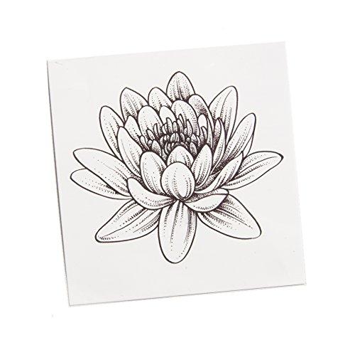 TattooYou Lotus Flower Temporary Tattoo for Women - Finest Quality Temporary Flower Tattoo - Hand Drawn Design by Anastasiya Pakhanova - 5 by 5 Inches