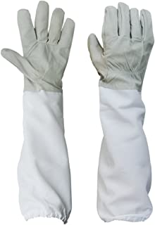 BESTOPE 2019 Upgraded Beekeeping Gloves Premium Goatskin Leather Beekeeping Supplies with Long Canvas Protective Sleeves & Elastic Cuffs
