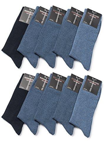 Occulto Herren Socken Business Freizeit Baumwolle in verschiedenen Farben (43-46, Blautöne) (10er Pack)