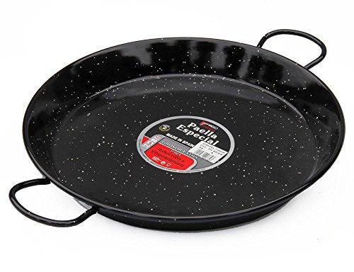 La Valenciana 36 cm Acero esmaltado para Cocina de inducción Paella de cerámica con Asas, Negro, 36.0 cm