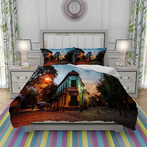 REIOIYE Duvet Cover Set-Bedding,Public Square In La Boca Buenos Aires Argentina Taken During Sunset,Quilt Cover Bedlinen-Microfibre 200x200cm with 2 Pillowcase 50x80cm