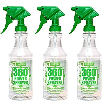 HARRIS Professional Wide Mouth 32oz Empty Spray Bottles for Cleaning Solutions  3-Pack  All-Purpose with Clear Finish Pressurized Sprayer Adjustable Nozzle and Measurements