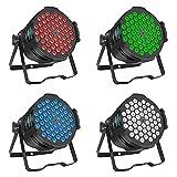 BETOPPER luz de discoteca 54x3W RGB Luz DJ LED Luces estroboscópicas de escenario 3/7 CH DMX 512 Iluminación de discoteca para Navidad, fiesta en casa, eventos de la iglesia, etc. (4 paquetes)