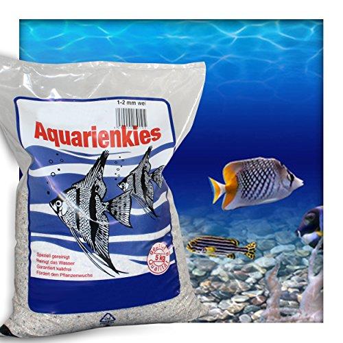 Kieskönig Aquariensand Aquariumsand Bodengrund 1-2 mm Aquarienkies hochrein Naturweiss 10 kg (2 x 5 kg Beutel)