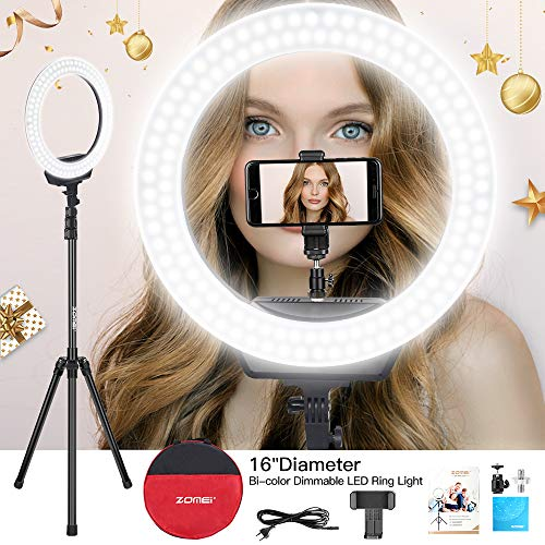 ZOMEi Ring Light 16' /40.5cm Outer 3200-5600K Dimmable LED Ring Light, with Tripod and Phone Holder Carrying Bag for Camera,Smartphone,YouTube,Self-Portrait Shooting Protect Eyes