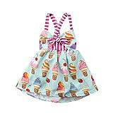 Vestido de verano sin mangas para niña, vestido sin mangas con estampado de helado Bowknot Halter vestido de verano para niños, faldas de princesa con cordones con correa cruzada Colore 2-3 Años