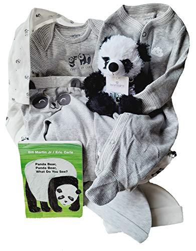 New Baby Gift Basket Bundle - Unisex Gift Basket - 10 Piece Panda Set