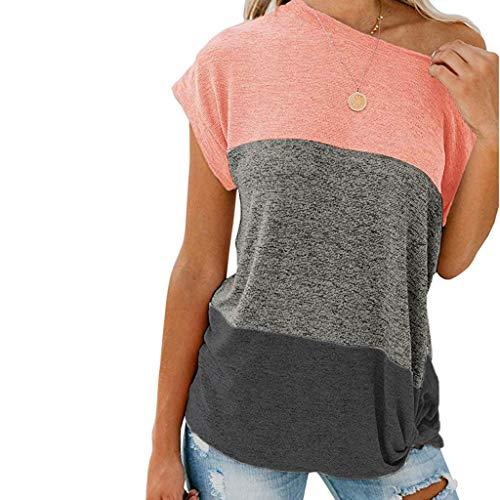 Andouy Damen Schulterfrei Verknotet Sweatshirt Lässige Leicht Lange Ärmel Patchwork-Farbe Bodenbildung Tops Pulli(s.Rosa-2)