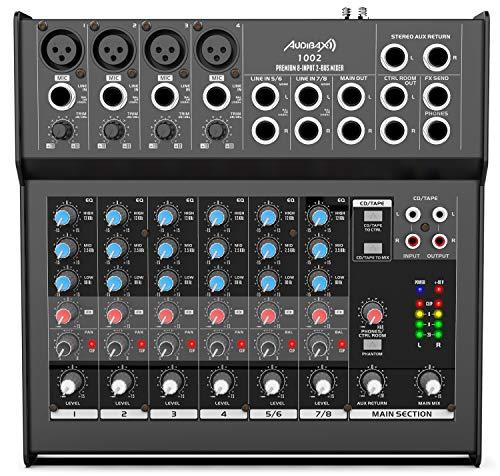 Audibax 1002 - Mesa de Mezclas con 8 Canales, Ecualizador de 3 Bandas...