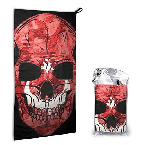 Zachary Sherman Turks Skull handdoek, sneldrogend, met karabijnhaak, absorberend etui en sporthanddoek, sneldrogend, 40 x 80 cm