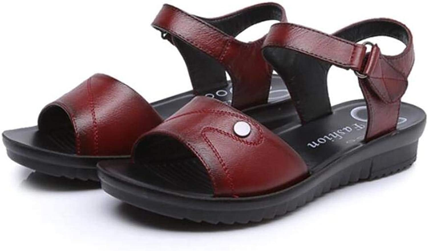 JaHGDU Women Summer Leather Flat Sandals Non Slip Large Casual Wear Middle Aged Mother shoes for Women Red Black Brown