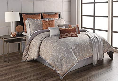 Riverbrook Home 12-Piece Comforter Set, Queen, Aileen - Gray/Spice