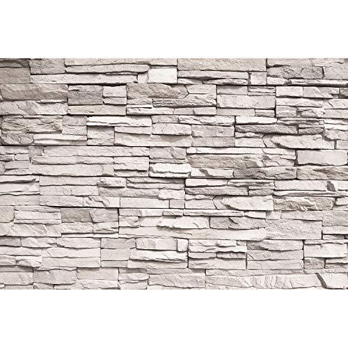 GREAT ART Mural De Pared – Muro De Piedra Blanca – Revestimiento De Paredes De Diseño Industrial, Muro De Piedra Natural Foto Papel Pintado Y Tapiz Y Decoración (210 X 140 Cm)