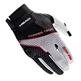 HEAD Leather Racquetball Glove - AMP Pro Copper Tech Glove for Right & Left Hand - Black/Silver/Red, Right - Large