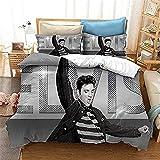 3D Impresión Juego de Fundas de Edredón de Almohada Funda Nórdica Terciopelo Elvis Presley Single(135X200 Cm), 2 Piece Set 1 Piece Quilt Cover + 1 Piece Matching Pillowcase