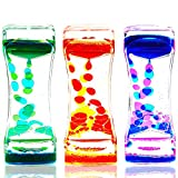 LYPGONE Liquid Motion Bubbler Timer Pack of 3 Hourglass Liquid Bubbler Sensory Toys ADHD Fidget Toy Anxiety Autism Toys Calm Relaxing Desk Toys