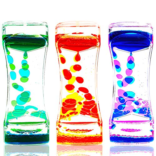 LYPGONE Liquid Motion Bubbler Timer Pack of 3 Hourglass Liquid Bubbler Sensory Toys ADHD Fidget Toy...