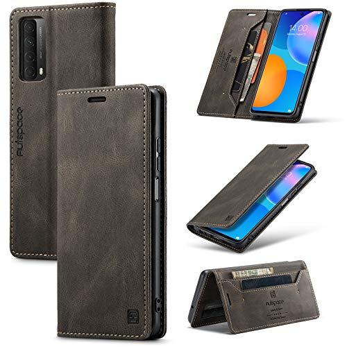 Bolso de un teléfono portátil Caja de cuero suave de cuero suave multifunción para Huawei P Smart 2021,2 en 1 caja de la cubierta de la billetera magnética del flip, la caja de la cubierta inferior de