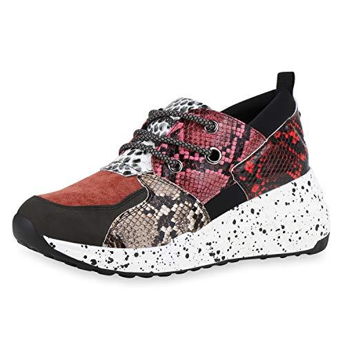 SCARPE VITA Damen Sneaker Wedges Keilabsatz Schuhe Animal Prints Turnschuhe Keilsneaker Schnürer Freizeitschuhe 185843 Rot Pink Snake 39