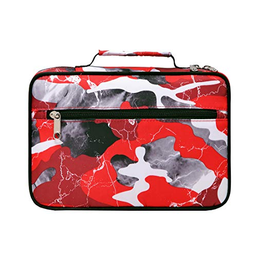 Bible Case Cover for Boys Medium Large Kids Study Bible Carrying Bag Carrier with Zipper Good Holy Book Protector Teens Girls LDS Church Scripture Organizer Catholic Gift Red Camouflage Waterproof