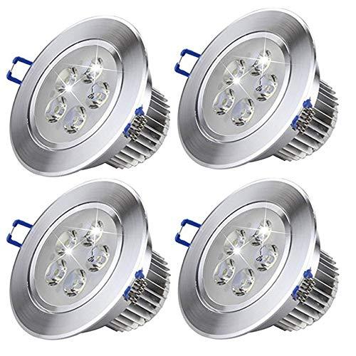 4 Pack LED Downlight de techo Luz blanca de techo LED fría Downlights LED Downlight de techo LED Lámparas Downlight empotrable Spot Lámparas de luz de Panel Led Iluminación interior para interiores