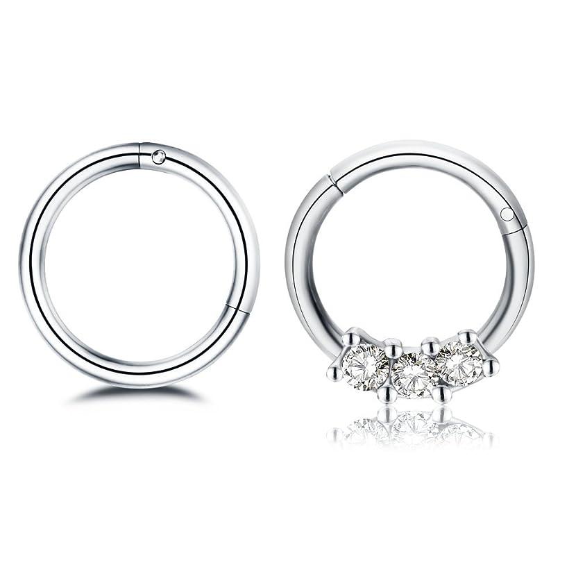 Changgaijewelry 2Pcs 16g Stainless Steel Hinged Nose Rings Cartilage Sleeper Tragus Piercing Hoop Earrings Gold CZ 8mm
