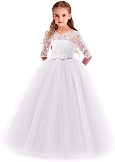 IZKIZF Flower Girls 3/4 Sleeve Lace Bowknot Princess Wedding Tulle Dress Birthday Communion Pageant Party Ball Maxi Gown