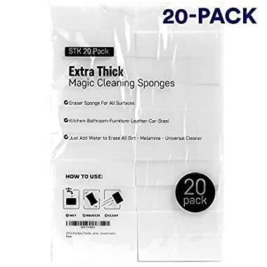 STK 20 Pack Extra Thick Magic Cleaning Pads - Eraser Sponge For All Surfaces - Kitchen-Bathroom-Furniture-Leather-Car-Steel - Just Add Water to Erase All Dirt - Melamine - Universal Cleaner