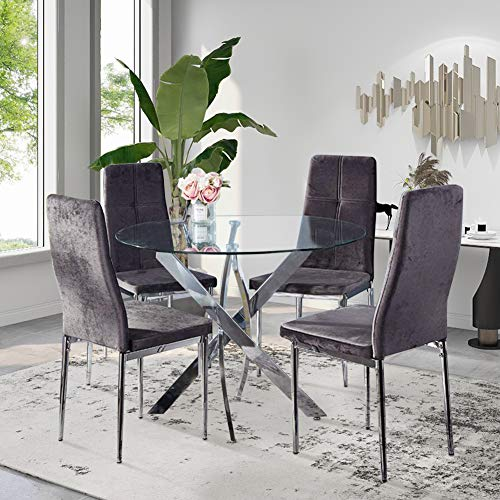 GOLDFAN Dining Table and Chairs Set 4 Modern Glass Round Dining Kitchen Table and Velvet High Backrest Chairs Dining Room Set, Grey