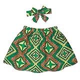 Edjude - Conjunto de ropa estampada para bebé y niña, estilo étnico africano, falda corta + diadema (2 unidades) A587-verde 24 meses