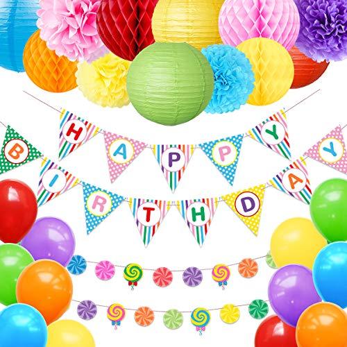 Decoración de fiesta de cumpleaños con diseño de arcoíris de NICROLANDEE - Guirnalda de banderines y globos de papel de seda Colorfu para fiesta de cumpleaños de bebé