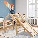 Dripex Wooden Climbing Triangle Ladder with Ramp - Folds Flat for Easy Storage and Reversible Slide Attachment - Indoor Climbing Play Cube for Kids from 6M - 3Y+ Years Old - Montessori Climber