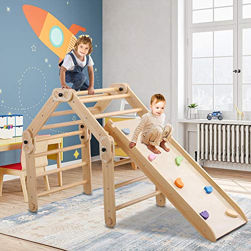 Dripex Foldable Pikler Triangle Climber with Ramp - Modifiable Wooden Pikler Triangle and Reversible Slide with Color Stones for Climbing & Sliding Indoor, Montessori Climbing Toys for Toddlers 1-3+
