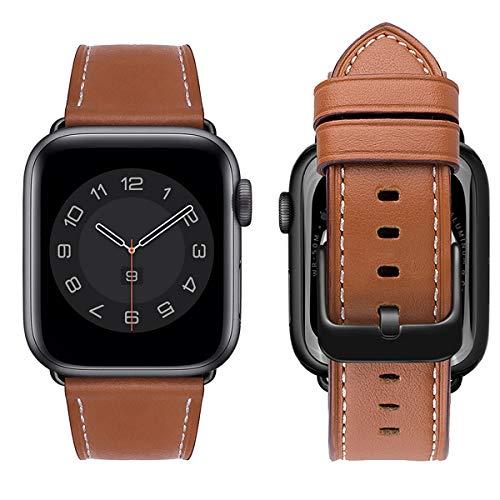 MroTech Cinturino Compatibile con iWatch 44 mm Series 5 Serie 4 Watch Band Cinturini di Ricambio 44mm in Pelle Vera per Uomo e Donna Cinghie Sostituzione Bracciale da Polso Loop Morbido Marrone/Nero