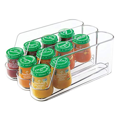mDesign Plastic Storage Organizer Bin for Kitchen Cabinet, Pantry, Refrigerator, Countertop - Kids/Toddlers Bottles, Sippy Cups, Baby Food Jars - 3 Sections - Clear