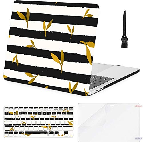 MacBook Pro 15inch Retina(2013-2015) with Retina Display,A1398 Case,Plastic Repeat Gold Foil Leaves Hard Shell Case with Keyboard Cover & Screen Protector & Cleaning Brush