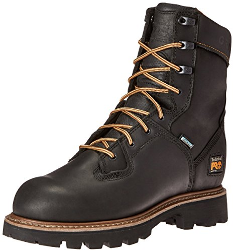 Timberland PRO Men's 8 Inch Crosscut Waterproof Soft Toe Logger Work Boot, Black Full Grain Leather, 11 M US
