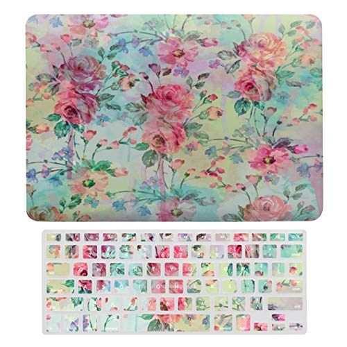 MacBook Air 13 Inch Case(A1369 & A1466, Older Version 2010-2017 Release), Plastic Hard Protective Laptop Case Shell with Keyboard Cover, Cute Romantic Roses Floral Paint Watercolors