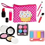 Beverly Hills Pretend Makeup Toy Set, My First Princess Cosmetic Beauty Set for Little Girls, Kids Pretend Play, Dress Up with Stylish Polka Dotted Make Up Bag