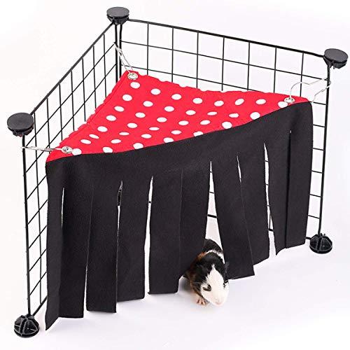 Haokaini Guinea Varken Verborgen Hangmat, Mini Hangmat Verborgen Huisdier Tent met Gordijn, Huisdier Guinea Varken Gordijn Hideout Tent, Rood