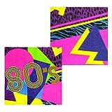 NET TOYS 12 tovaglioli per Festa Anni '80 - 33 x 33 cm   Salviette di Carta per Festa Anni '80   Tovaglioli USA e Getta   Accessorio Festa a Tema