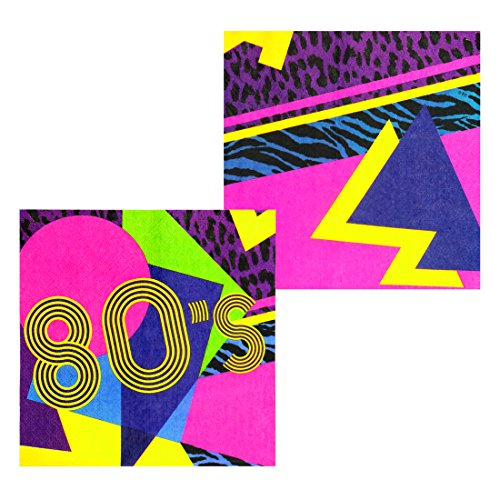 NET TOYS 12 Servietten 80er Jahre Party Papierservietten 80's Mottoparty 33 x 33 cm Partyservietten Achtziger Einwegservietten Eighties