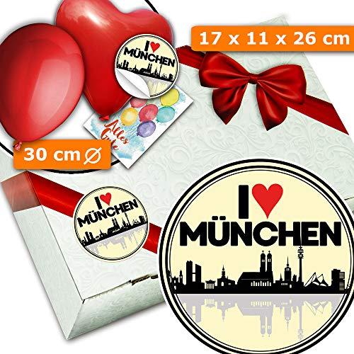 I love München + Geschenkbox aus Karton + Geburtstagsüberraschung München