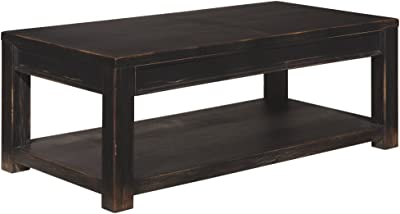 Signature Design by Ashley - Gavelston Coffee Table w/ Fixed Shelf, Rubbed Black Finish
