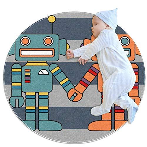 Divertido robot pareja amante bebé juego Mat – Baby Crawling Pad para niños y niñas – Juego manta piso alfombra decoración habitación infantil para bebé niña sala de estar cama