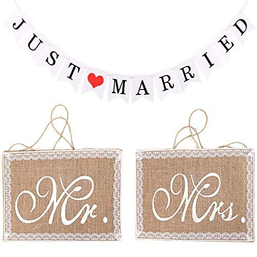 3 Décorations de Mariage, Décorations de Bannière de Logo de Mariage, Décorations de Dossier de Chaise M. et Mme