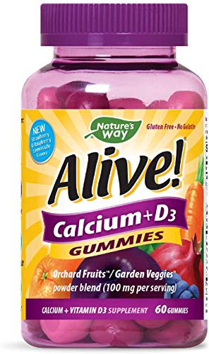 Nature's Way Alive! Premium Calcium + D3, Orchard Fruits/Garden Veggies Powder Blend, 60 Gummies