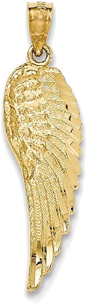14K Yellow Gold Polished & Textured Angel Wing Pendant
